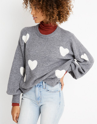 Heart Dot Pullover Sweater in Coziest Yarn in heather evening image 2