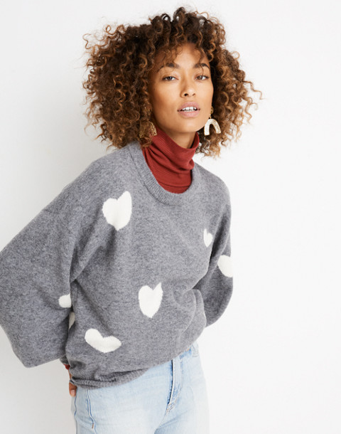 Heart Dot Balloon-Sleeve Pullover Sweater in heather evening image 3