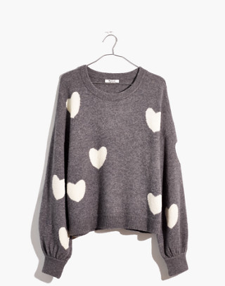 Heart Dot Pullover Sweater in Coziest Yarn in heather evening image 4