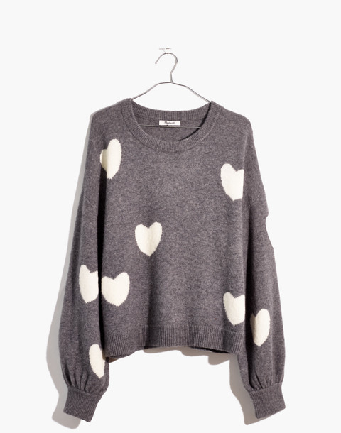 Heart Dot Balloon-Sleeve Pullover Sweater in heather evening image 4