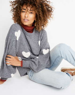 Heart Dot Pullover Sweater in Coziest Yarn in heather evening image 1