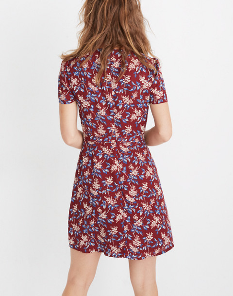 Wrap-Front Mini Dress in Antique Flora in october dusty burgundy image 3