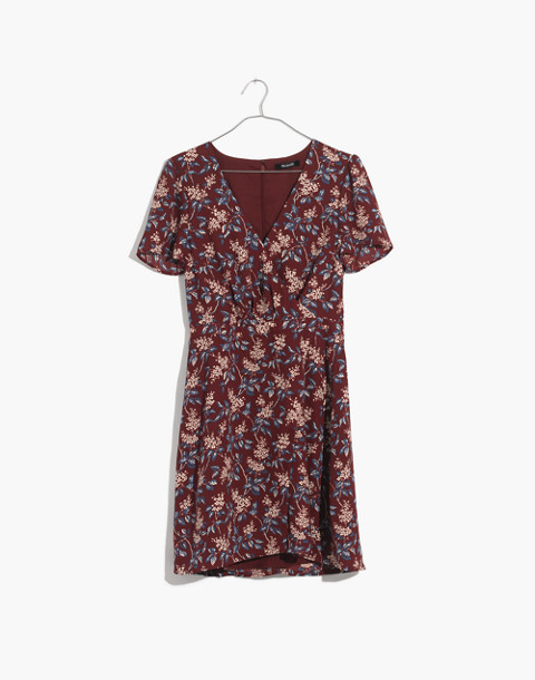 Wrap-Front Mini Dress in Antique Flora in october dusty burgundy image 4