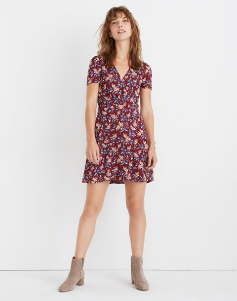 Wrap-Front Mini Dress in Antique Flora in october dusty burgundy image 1