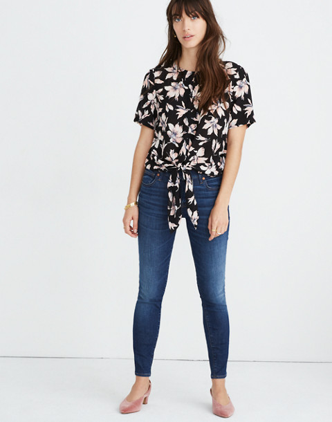 Silk Button-Back Tie Tee in Winter Orchid in brigette true black image 1