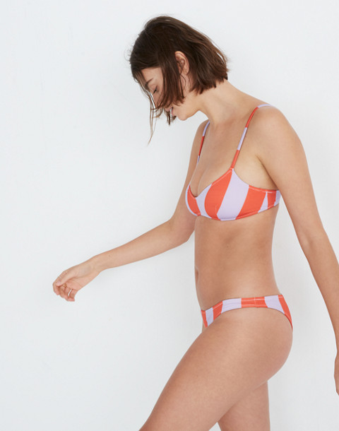 Solid & Striped® Rachel Bikini Top in lavender red stripe image 2
