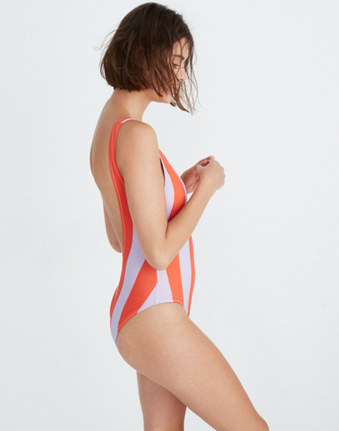 Solid & Striped® Anne-Marie One-Piece Swimsuit in lavender red stripe image 2