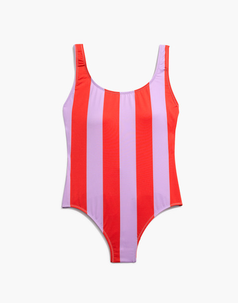 Solid & Striped® Anne-Marie One-Piece Swimsuit in lavender red stripe image 4