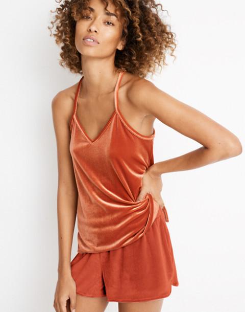 Velvet Pajama Cami Top in dark cinnabar image 3