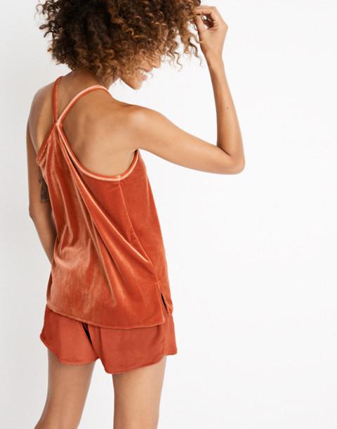 Velvet Pajama Shorts in dark cinnabar image 2