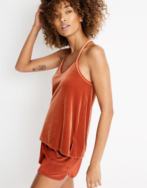 Velvet Pajama Shorts in dark cinnabar image 3