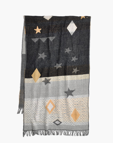 Geo-Star Jacquard Scarf in deep navy multi image 2