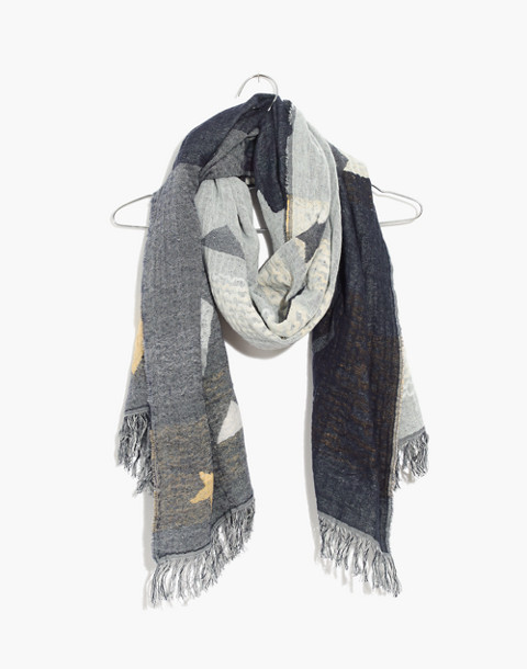 Geo-Star Jacquard Scarf in deep navy multi image 1