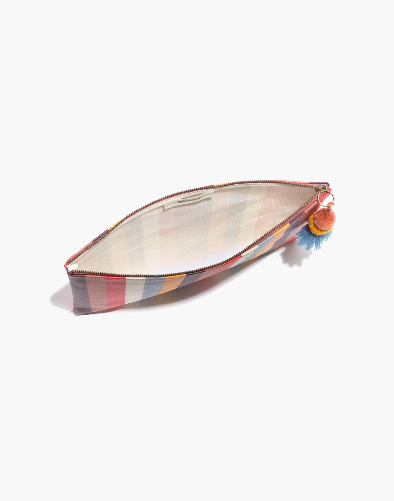 Large Pom-Pom Zip Pouch in Carousel Stripe in sweet dahlia multi image 2