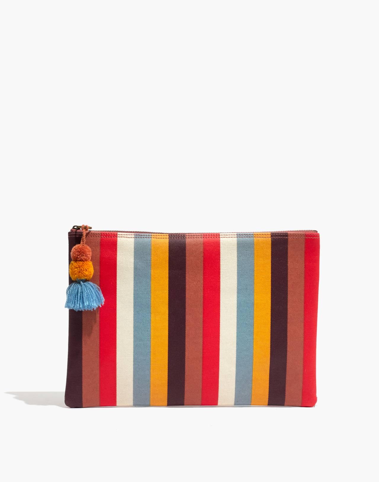 Large Pom-Pom Zip Pouch in Carousel Stripe in sweet dahlia multi image 1