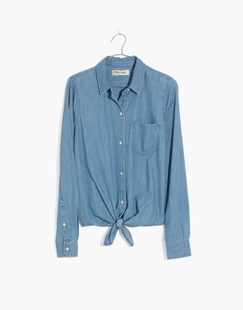 Denim Tie-Front Shirt in Hillford Wash in hillford wash image 4