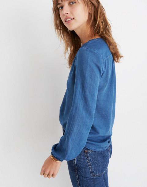Indigo V-Neck Button-Down Shirt in dianne wash image 2