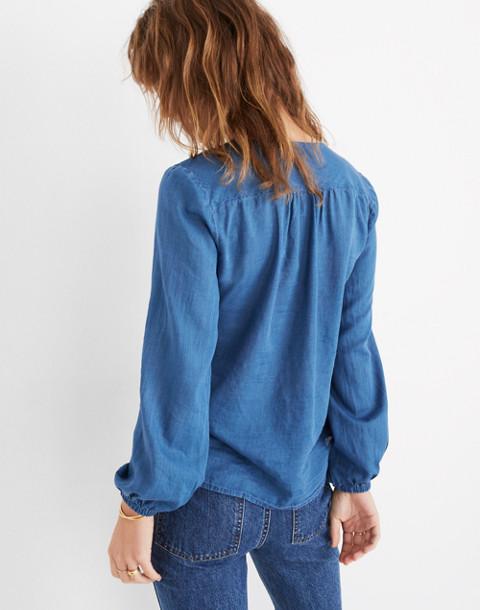 Indigo V-Neck Button-Down Shirt in dianne wash image 3
