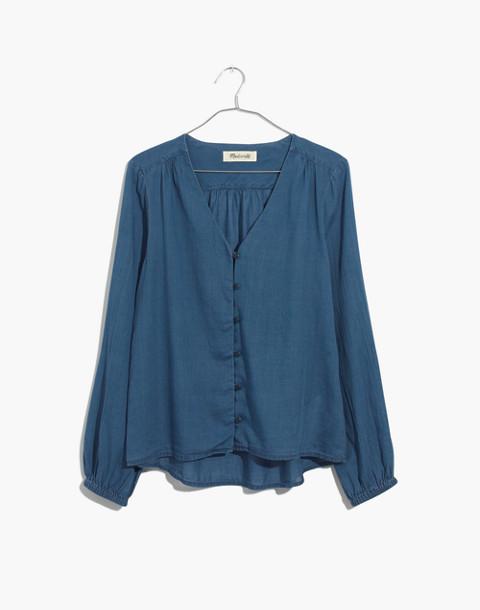 Indigo V-Neck Button-Down Shirt in dianne wash image 4