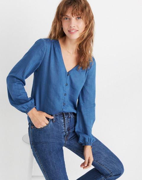 Indigo V-Neck Button-Down Shirt in dianne wash image 1