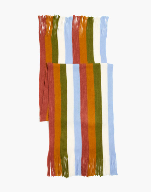 Vertical Stripe Scarf in afterglow red multi image 2