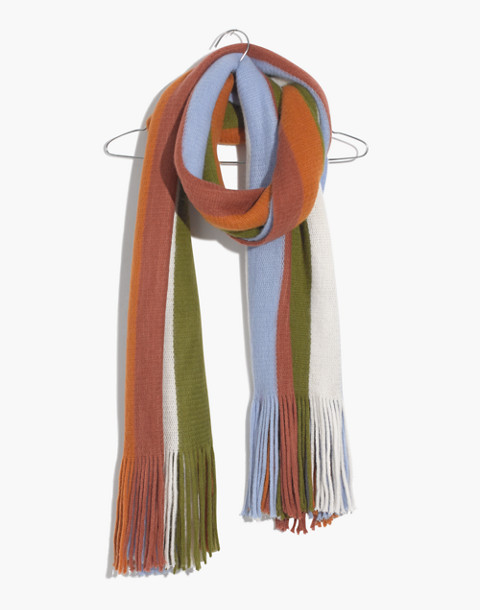 Vertical Stripe Scarf in afterglow red multi image 1