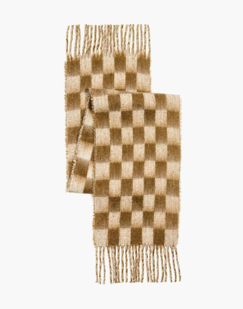 Checkerboard Scarf in asparagus multi image 2
