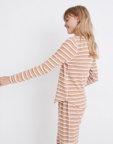Honeycomb Pajama Tee in Kasson Stripe in pearl ivory flamingo stripe image 2