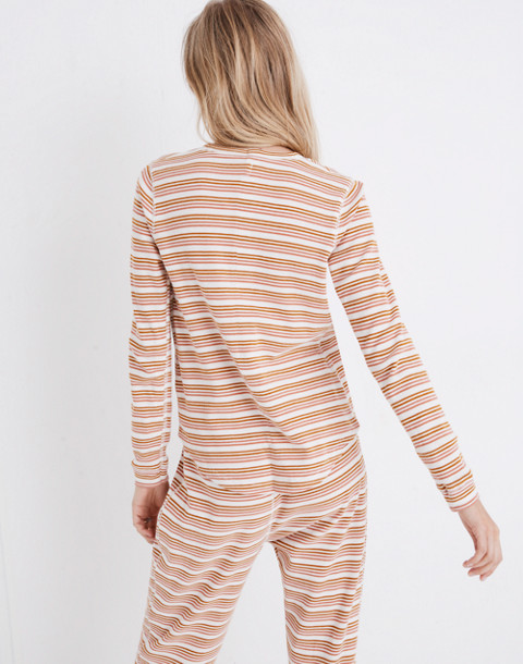 Honeycomb Pajama Tee in Kasson Stripe in pearl ivory flamingo stripe image 3