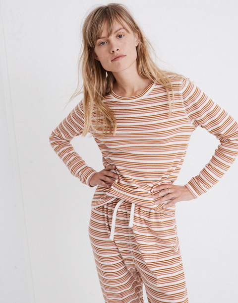 Honeycomb Pajama Tee in Kasson Stripe in pearl ivory flamingo stripe image 1