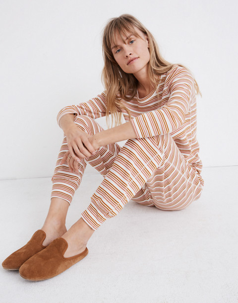 Honeycomb Pajama Sweatpants in Kasson Stripe in pearl ivory flamingo stripe image 2