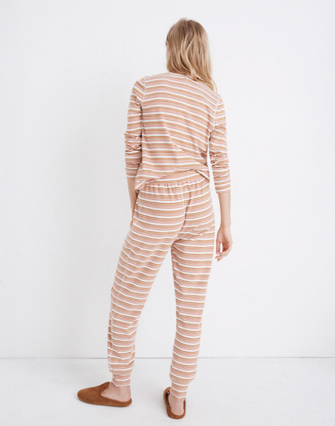 Honeycomb Pajama Sweatpants in Kasson Stripe in pearl ivory flamingo stripe image 3