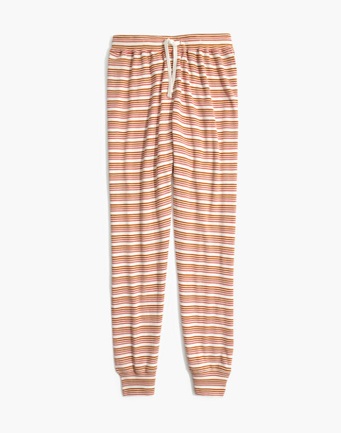 Honeycomb Pajama Sweatpants in Kasson Stripe in pearl ivory flamingo stripe image 4