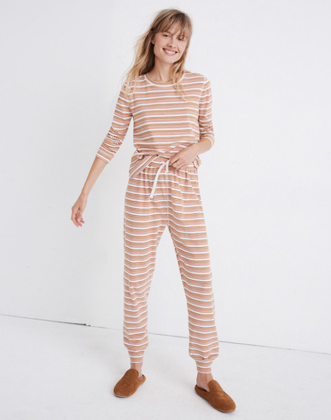 Honeycomb Pajama Sweatpants in Kasson Stripe in pearl ivory flamingo stripe image 1