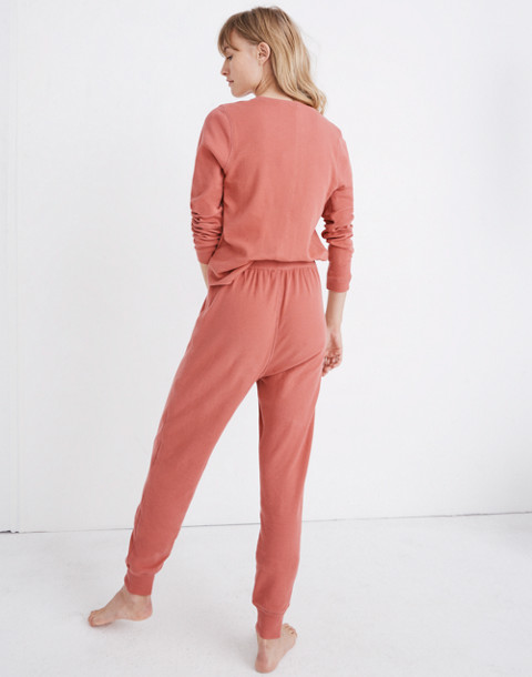 Honeycomb Pajama Sweatpants in faded red image 3