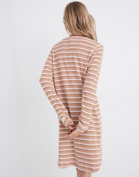 Honeycomb Pajama Dress in Kasson Stripe in pearl ivory flamingo stripe image 3