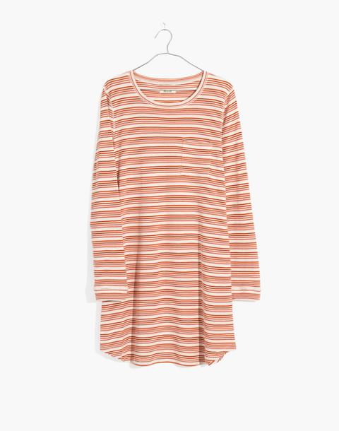 Honeycomb Pajama Dress in Kasson Stripe in pearl ivory flamingo stripe image 4