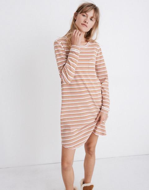 Honeycomb Pajama Dress in Kasson Stripe in pearl ivory flamingo stripe image 1