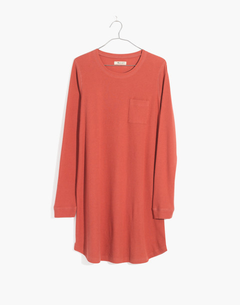 Honeycomb Pajama Dress in faded red image 4