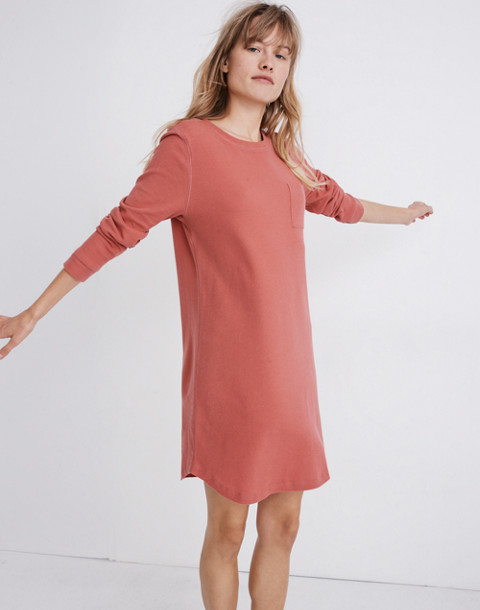 Honeycomb Pajama Dress in faded red image 1
