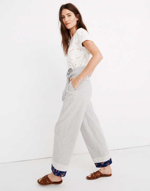 Madewell x The New Denim Project® Patchwork Paperbag Pants in blue railroad stripe image 2