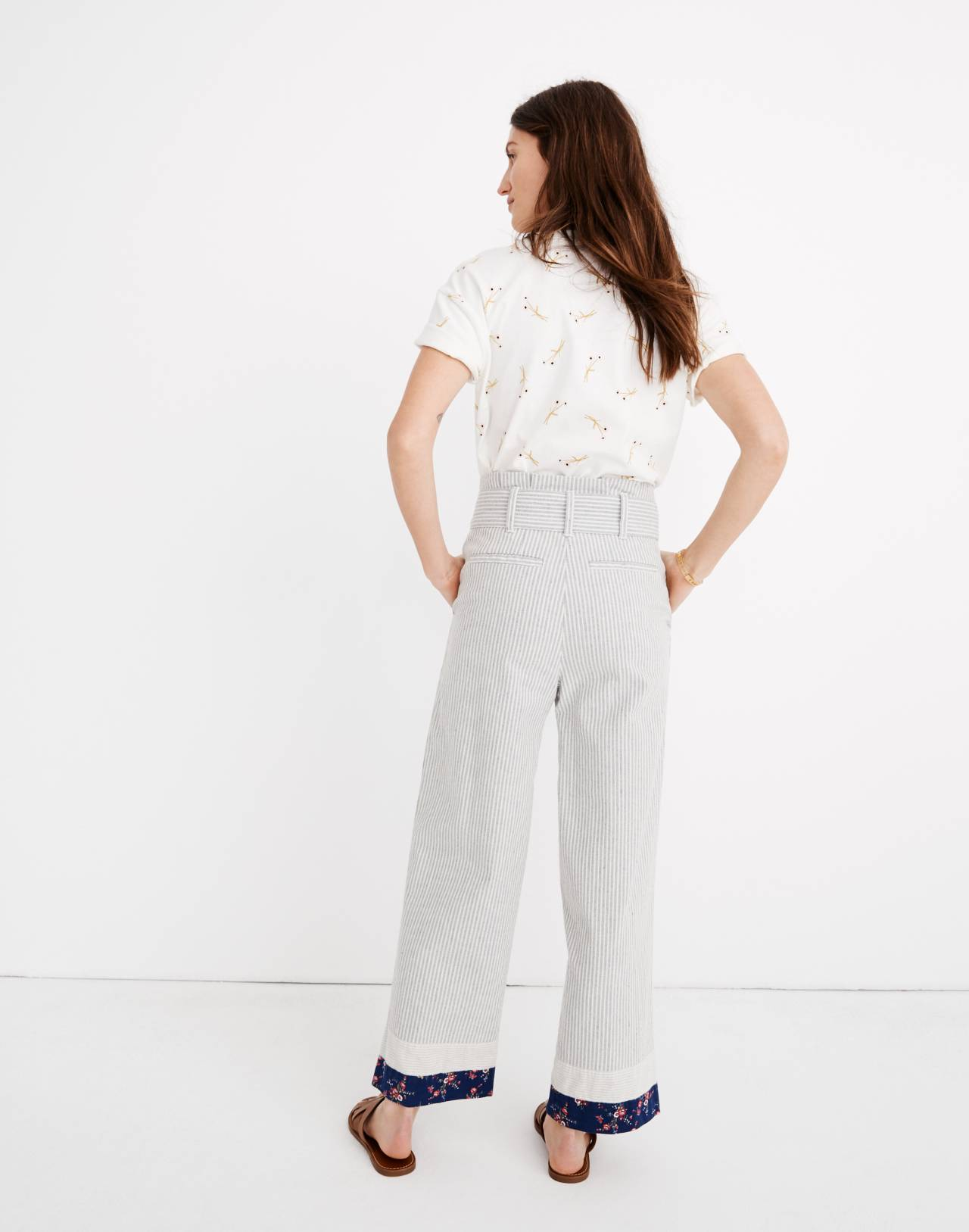 Madewell x The New Denim Project® Patchwork Paperbag Pants in blue railroad stripe image 3