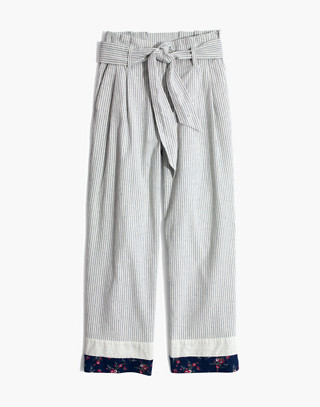 Madewell x The New Denim Project® Patchwork Paperbag Pants in blue railroad stripe image 4