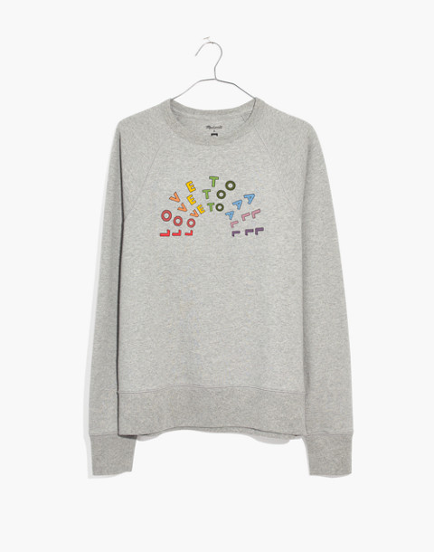 Madewell x Human Rights Campaign Unisex Love to All Pride Sweatshirt in hthr smoke image 1