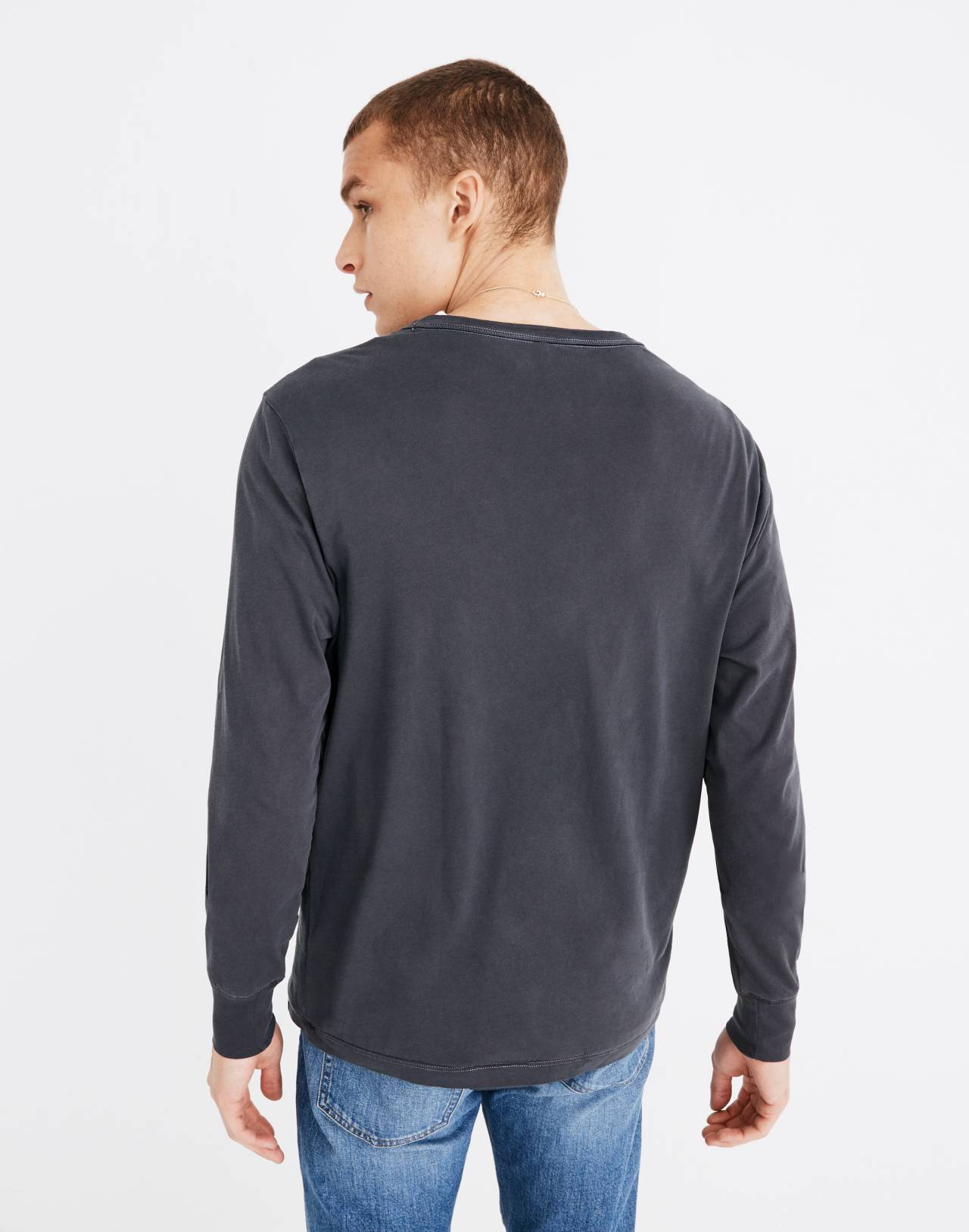 Garment-Dyed Daily Crewneck Long-Sleeve Tee in classic black image 3