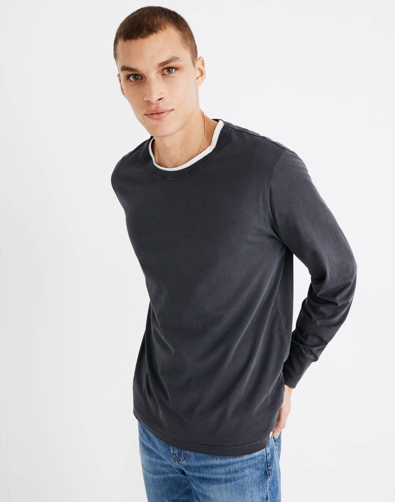 Garment-Dyed Daily Crewneck Long-Sleeve Tee in classic black image 1