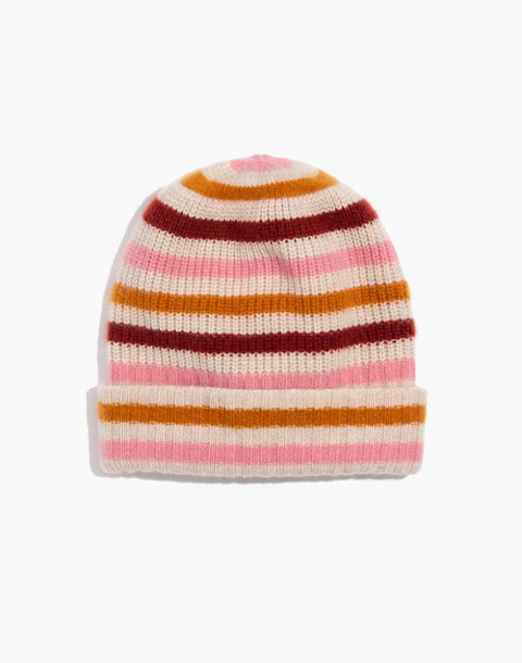 Striped Cashmere Beanie in hthr powder image 1
