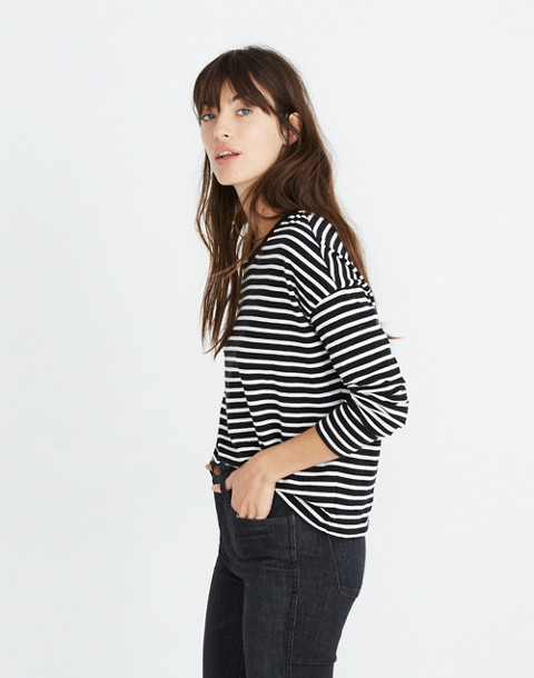 Triblend Ex-Boyfriend Long-Sleeve Tee in Baden Stripe in true black image 2