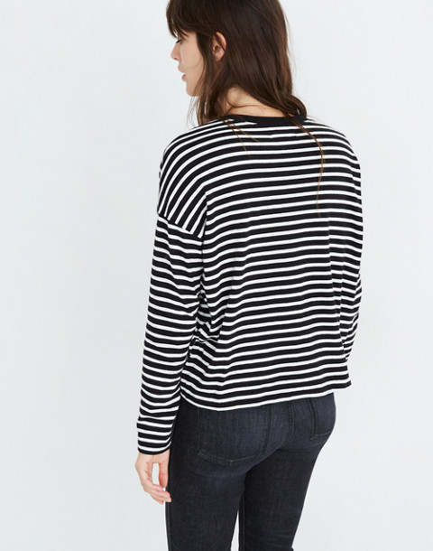 Triblend Ex-Boyfriend Long-Sleeve Tee in Baden Stripe in true black image 3