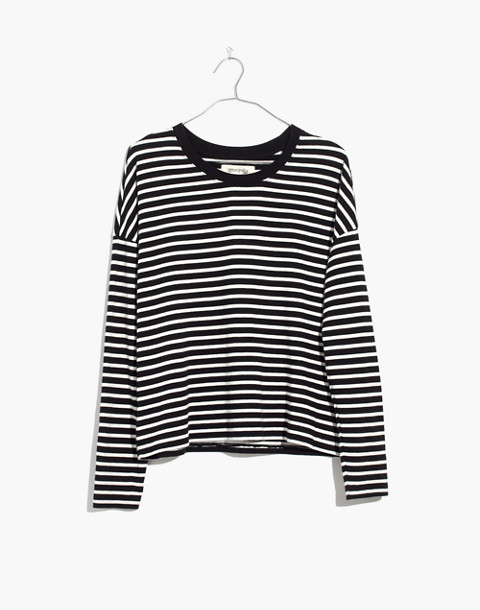 Triblend Ex-Boyfriend Long-Sleeve Tee in Baden Stripe in true black image 4